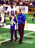 Ty with Columbus Lions Head Coach Gibson . Ty helped with coin toss.